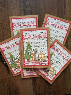 "Hand stamped ""Falalala"" Christmas cards by popsiclesticks on Etsy. Lawn Fawn stamps. Deer. Cheery Christmas."