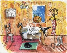 Saturday Night Witch Bubble Bath Black Cat Halloween Full Moon Wall Art