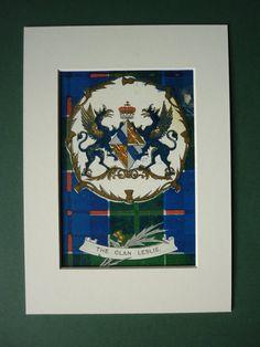 "Antique Leslie Clan Print - 7"" x 5"" - Scotland - Scottish - Heraldry - Coat Of Arms - Tartan - Crest - Matted - Gene Stratton-Porter"