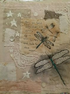 Vintage textile art dragonflies applique mixed media. Emily Henson www.facebook.com/bibliboo