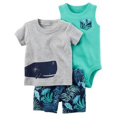 Baby Boy Carter's Whale Tee, Bodysuit & Leaf-Print Shorts Set, Light Grey
