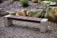 Wood, concrete and metal merge in this bench made of reclaimed Greenheart and Ipe wood. By Douglas Thayer Design - Westhampton, MA. More here: http://www.landscapingnetwork.com/products/furniture/wood-concrete-metal-benches.html#