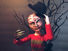 Freddy Krueger custom OOAK Deuce Gorgon monster high doll by @LadySpoonArt