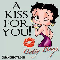 A KISS FOR YOU! - Flirty cartoon character Betty Boop winking and blowing a Kiss X with logo and red lip print Betty Boop Tattoos, Black Betty Boop, Boop Gif, Betty Boop Pictures, Old Cartoons, Cartoon Characters, Cartoon Faces, Cartoon Tv, Clip Art