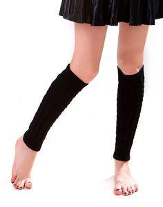 Super Z Outlet Women's Cable Knit Leg Warmers Knitted Crochet Long Socks, Black OSFM