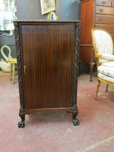 SOLD Vintage antique carved claw foot mahogany music cabinet, circa 1880-1900s  #music #cabinet