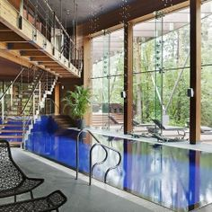 definitely want an indoor (heated) pool.   A contemporary-chic house in Russia with a sumptuous indoor pool!