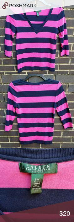 Ralph Lauren petite medium • Pre owned  • Lauren Ralph Lauren petite • Size PM • Color pink & navy blue  • 100% Cotton Lauren Ralph Lauren Tops