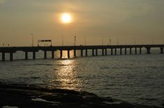 Bandra-Worli Sea Link, - The sun merging into the fathomless depths of the sea, adding to the mystery Bandra Worli Sea Link, Places Of Interest, Mumbai, Mystery, India, Sunset, Travel, Image, Voyage