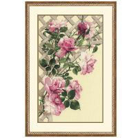 Pink Roses on Lattice Counted Cross Stitch Kit