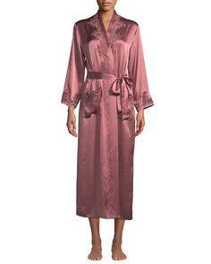 Get free shipping on Vivis Katiuscia Lace-Trim Long Silk Robe at Neiman  Marcus. 65913aeea