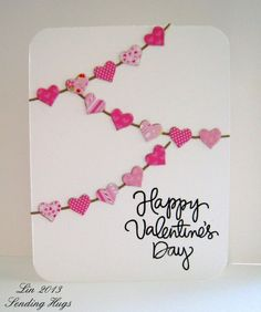 handmade Valentine card: Happy Valentine's Day by quilterlin ... strings of hearts cut from tiny print papers ... clean and simple look ... luv the way the strings are hung ... great card!!