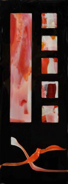 """Windows in Red  7""""x19""""  Fused and flameworked glass. ©Linda Humphrey / KilnForms."""