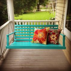 pop of color on the porch primed nasty old wooden swing and then applied two - Front Porch Swing