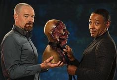 heisenbergchronicles:  4x13: Face Off Fun Factoid: The special effects team that brought you the zombies on The Walking Dead(Greg Nicotero  Howard Berger at KNB EFX)are responsible for Gus Fring's face off, Victor's slashed throat, Mike's ear and Walt's fake arm in season 4. Find more Breaking Bad fun factoids on Team Breaking Bad.