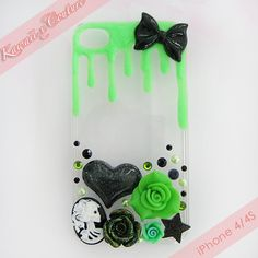 Creepy Cute Glow in the Dark iPhone 4/4S Decoden Case | $15.00    SHOP: www.etsy.com/shop/kawaiixcoutureHandmade decoden phone cases, jewelry, & accessories ♡
