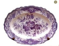 I wish I'd find some reasonably priced purple transferware! Purple Love, Purple Glass, All Things Purple, Purple Rain, Shades Of Purple, Antique Dishes, Vintage Dishes, Antique China, Vintage China