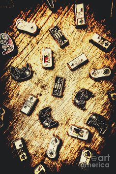 Vintage still life artwork on a heap of console gaming controllers in abstract form by Jorgo Photography - Wall Art Gallery