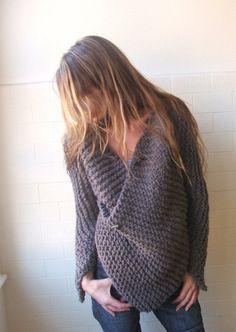 Brown Chunky Wraparound jacket / cardigan sweater READY by ileaiye  oh my, this is so wonderful!!