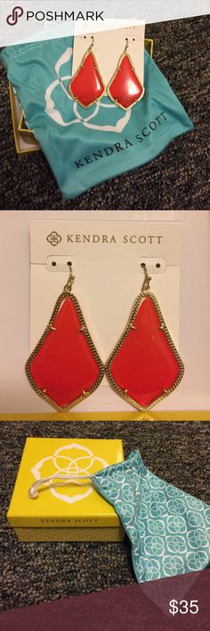 Kendra Scott- Alex Earrings in Bright Red Beautiful, brand new, never worn Kendra Scott, Alex style bright red earrings. With gift box and jewelry bag!! Also includes care card. Awesome statement earrings. Kendra Scott Jewelry Earrings