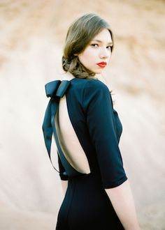 Black bow back romper | Kir & Ira Photography