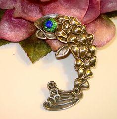 HUGE Vintage 1940s Sterling Silver Arts Crafts Peacock Eye Fish Brooch FAB