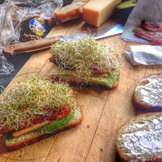 """""""Post run snack: sandwich w/ Cows Applewood smoked cheddar, local bacon/sprouts, avocado #cdncheese #simplepleasures"""" -Feistychef"""