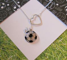 Soccer Necklace with Rhinestones and Heart and Number, handmade jewelry. $27.50, via Etsy.