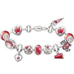 Wisconsin Badgers #1 Fan Charm Bracelet: Go Badgers!