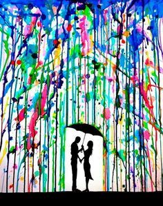 la pintura/ the painting The rain falls on us  It's a cool idea but I think they should've used a some cooler colors (ex: shades of blue, purple, ect.)