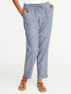 40f04470870 Mid-Rise Linen-Blend Cropped Pants for Women Shop Old Navy
