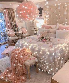 Bedroom Decor For Teen Girls, Cute Bedroom Ideas, Girl Bedroom Designs, Room Ideas Bedroom, Girly Bedroom Decor, Decor Room, Teen Bedrooms, Pink Bedrooms, Diy Bedroom