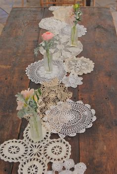 I was accumulator for this piece.we laid them out on the table.puzzled them together the way we liked.then hand stitched it them together. Doilies Crafts, Burlap Crafts, Vintage Table Decorations, Accent Table Decor, Doily Wedding, Diy Table Top, Wood Flowers, Macrame Projects, Table Runners