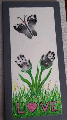 of The BEST Hand and Footprint Art Ideas! Kids crafts with homemade cards, canvas, art, paintings, keepsakes using hand and foot prints! Baby Crafts, Crafts To Do, Easter Crafts, Stick Crafts, Family Crafts, Tree Crafts, Toddler Art, Toddler Crafts, Children Crafts