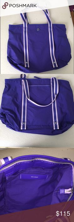 Lululemon Summer Lovin' Tote Lululemon Summer Lovin' Tote. Large bag. Great for the gym, yoga, or the beach. Purple. Small bag attached that can be used to store items like makeup or suntan lotion. Lightweight. Cotton/Nylon fabric that is durable and easy to clean. Front straps unsnap to securely store yoga mat or beach towel. Back slip pocket for phone or keys. Stash wet bathing suits in internal vented pocket. Tested to hold up to 50lbs. Never used. lululemon athletica Bags