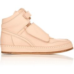 Hender Scheme Manual Industrial Products 6 Sneakers ($1,105) ❤ liked on Polyvore featuring shoes, sneakers, nude, perforated leather sneakers, perforated sneakers, leather sneakers, high top leather shoes and velcro high-top sneakers