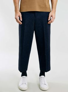 LUX P8 Jacquard Navy Cropped Trousers - Topman Lux - Clothing - TOPMAN