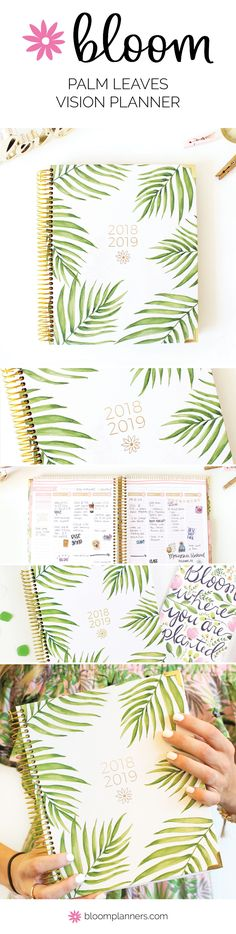 Our August to July academic year vision planners have pockets, monthly tabs, reflection questions, monthly vision boards, goal tracking and much more to help you stay organized and inspired all year! Bloom Planner, Bloom Where You Are Planted, Goal Planning, Planner Decorating, Palm, Calendar, Leaves, Organization, How To Plan