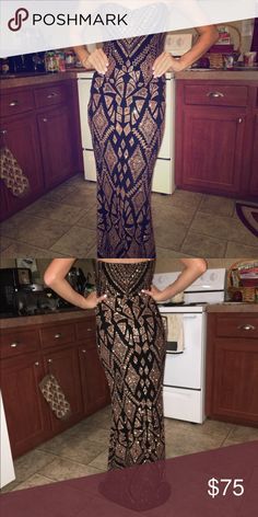 Sparkly Aztec Fitted Gown Evening gown with gold sparkles. Strapless. Perfect Condition dillards  Dresses Prom