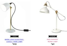 Barn Light Electric Lovell Task Lamp $219 |vs| Ikea Ranarp Work Lamp $40 #copycatchicfind