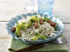 Horseradish risotto with braised cucumber and Kassel recipe