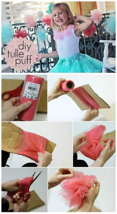 Great idea - Create a simple tulle puff for party decor!  ::  @Courtney Baker Baker Langdon, Would make cute puffed flowers... Tulle Bows, Tulle Flowers, Tulle Tutu, Fabric Flowers, Tutus, Tulle Crafts, Diy Party Decorations, Party Themes, Baker Baker