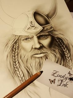 Old Viking drawing by Zindy Ink