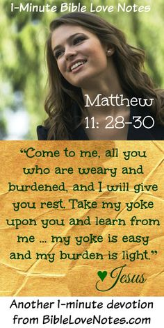 What a wonderful thing to be yoked but unburdened...this is the truth we have in…