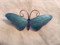 John Atkins & Son Sterling Silver Blue Enamel Butterfly Pin