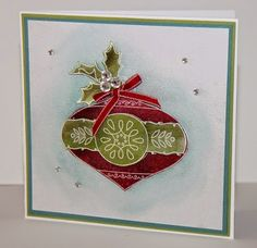 Christmas Bauble stamp Creations by Jolan Christmas Cards using Shimmer Smooch Spritz