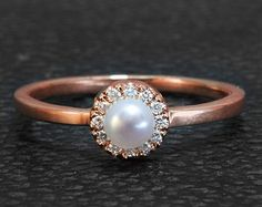 Diamond and Pearl Halo Rose Gold Engagement Ring, Handmade, Made to order, minimal jewelry, vintage, art deco, unique engagement rings,