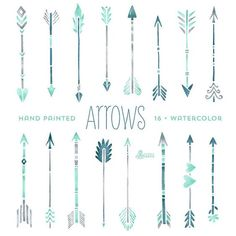 Mint Hand painted Arrows Watercolour 16 Clipart. Tribal, native diy elements, invitation, watercolor, transparent, grey, hires, boho style: