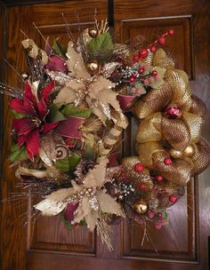 Christmas Brown, Gold Deco Mesh wreath with Poinsettias. Pretty, unique and welcoming.