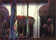 Eyvind Earle is a master of contemplative landscape paintings. To me these dream-like sceneries are highly hypnotising.